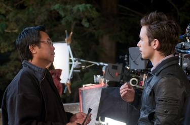 Director James Wong and Justin Chatwin in &quot;Dragonball Evolution.&quot;
